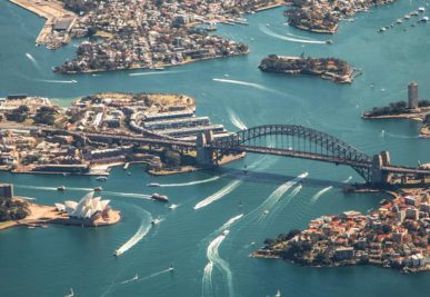 Aerial view of Sydney Harbour Bridge and Opera House